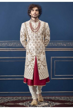 Rajputi Style Cream Colour Groom Sherwani.