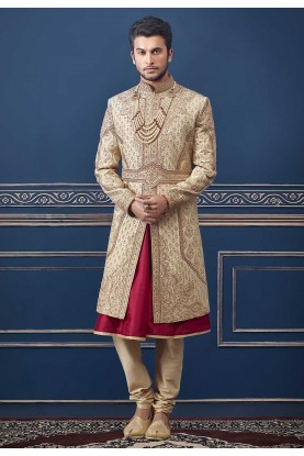 Golden Colour Indian Designer Sherwani.