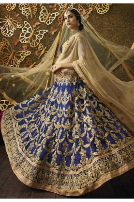 Women's Net Fabric & Navy Blue Color Pretty Unstitched Lehenga Choli