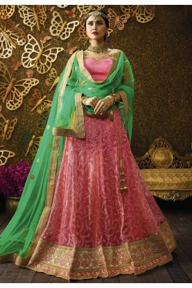 Women's Pretty Circular Lehenga Style in Pink Color With Lace,Embroidery Work
