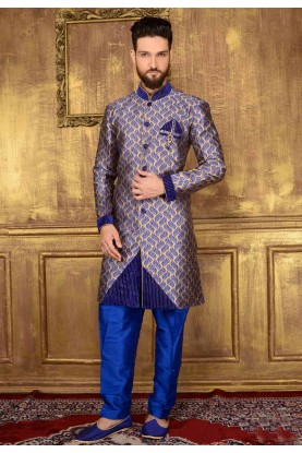 Exquisite Blue Color Jacquard,Brocade Silk Readymade Kurta Pajama.