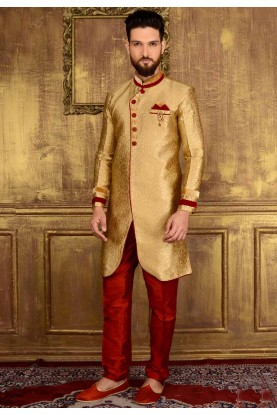 Attractive Raglan Sleeves Gold Color Jacquard,Brocade Silk Readymade Kurta Pajama.