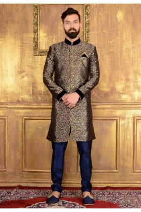 Black Color,Jacquard,Brocade Silk Readymade Kurta