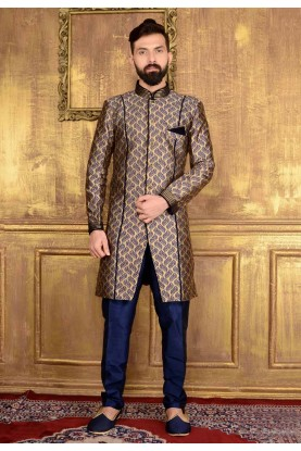 Attractive Raglan Sleeves Blue Color Jacquard,Brocade Silk Readymade Kurta Pajama.