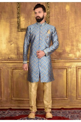 Men's Attractive Raglan Sleeves Blue Color Jacquard Readymade Kurta Pajama.