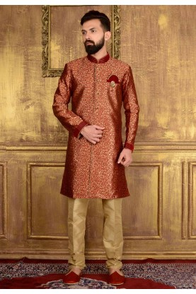 Men's Jacquard,Brocade Silk & Maroon Color Readymade Kurta Pajama.