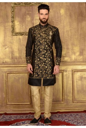 Men's Brocade Silk with Black Color Readymade Kurta Pajama.