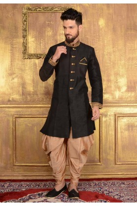 Men's Appealing Raglan Sleeves Black Banarasi Silk Readymade Kurta Pajama.