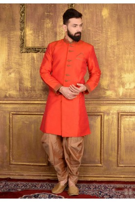 Men's Orange Color Banarasi Silk Readymade Kurta Pajama.