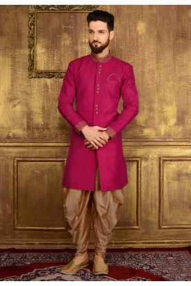 Men's Attractive Raglan Sleeves Red Color Art Silk Readymade Kurta Pajama