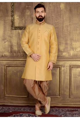 Men's Gold Color Banarasi,Art Silk Readymade Kurta Pajama.
