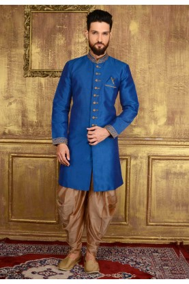 Men's Blue Color Banarasi,Art Silk Readymade Kurta Pajama.