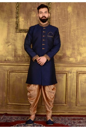 Exquisite Raglan Sleeves Blue Color Readymade Kurta Pajama.