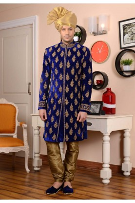 Velvet Fabric Blue Color Sherwani