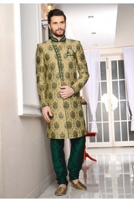 Eye-catching Jacquard,Brocade Silk Fabric Green Color Sherwani For Men's