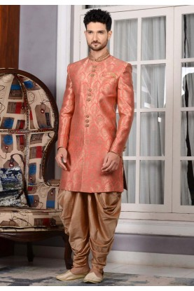 Jacquard,Brocade Silk Fabric Peach Color Sherwani For Men's
