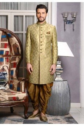 Incredible Green Color Sherwani in Jacquard,Brocade Silk Fabric