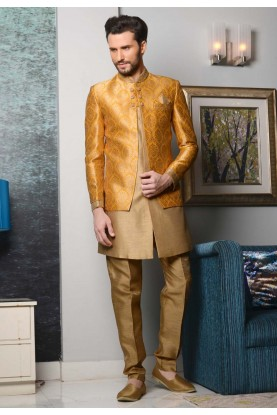Men's Striking Brocade Silk Yellow,Beige Color Men's Indo Western