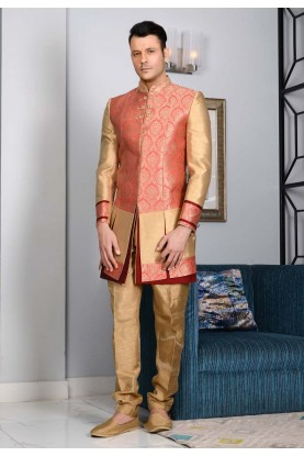 Men's Striking Pink,Golden Color Jacquard,Brocade Silk Men's Indo Western