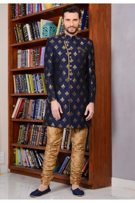 Eye-catching Blue Color Banarasi Silk,Brocade Indowestern For Men's
