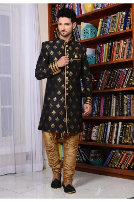 Black Color Banarasi Silk,Brocade Indowestern