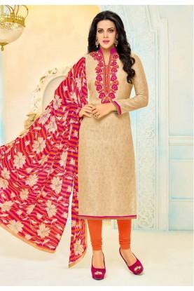 Salwar Kameez in Golden Color & Cotton Fabric