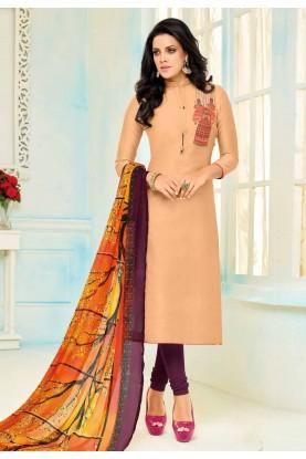 Orange Color Cotton Beautiful Salwar Kameez in Straight Cut Style