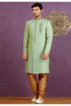 Green Color Jacquard,Brocade Silk Sherwani