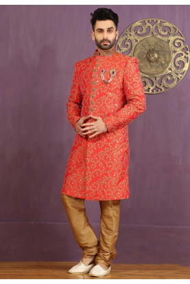 Jacquard,Brocade Silk Fabric Red Color Sherwani