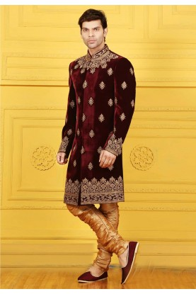Velvet Fabric Maroon Color Sherwani