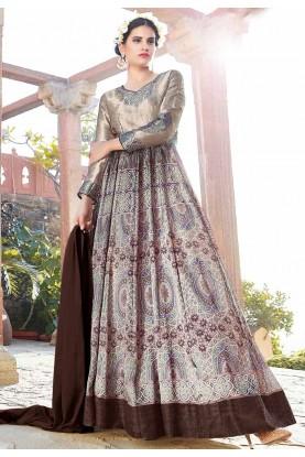 Anarkali Style Brown Color with Printed Work Incredible Unstitched Salwar Kameez