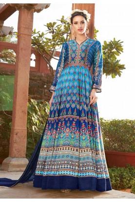 Anarkali Style Multi Color with Printed Work Incredible Unstitched Salwar Kameez