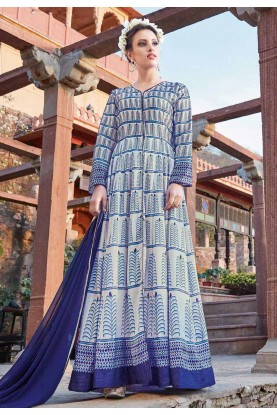 Blue Color with Printed Work Incredible Unstitched Salwar Kameez