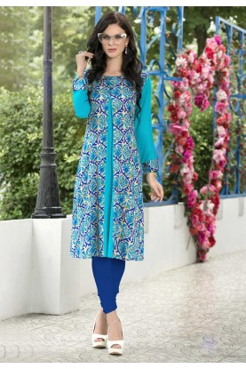 Blue Color Readymade Casual Kurti in Cotton Fabric