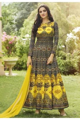 Anarkali Salwar Kameez in Blue,Yellow Color & Printed Fabric