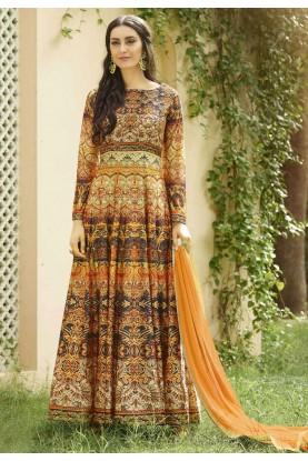 Orange Color Designer Salwar Kameez in Imported Fabric