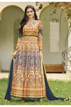 Golden,Beige Color Anarkali Salwar Kameez in Imported Fabric