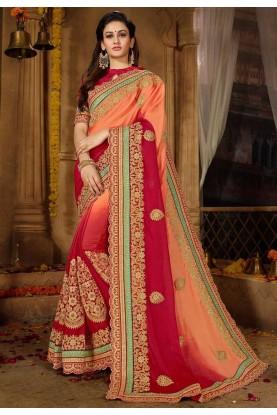 Peach,Red Color Georgette Sari.