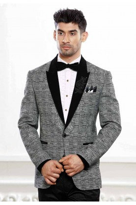 Buy designer linen suits for men in grey colour