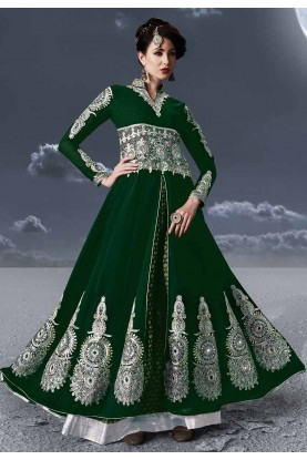 Green Colour Anarkali Salwar Suit.