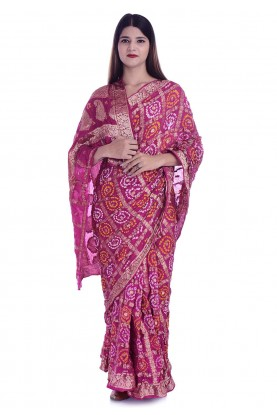 Pink Colour Bandhej Saree.
