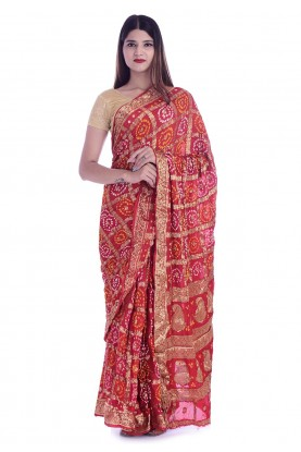Indian Festival Bandhej Saree.