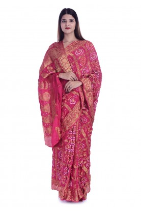Pink Colour Bandhej Printed Saree.