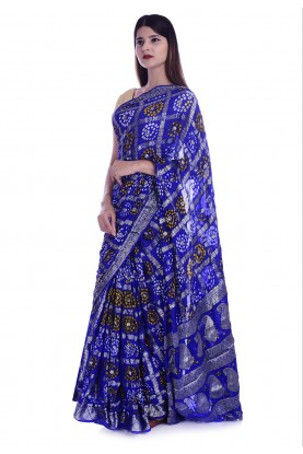 Royal Blue Colour Bandhani Saree.