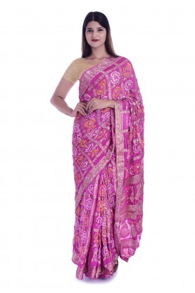 Pink Colour Banarasi Silk Bandhani Saree.