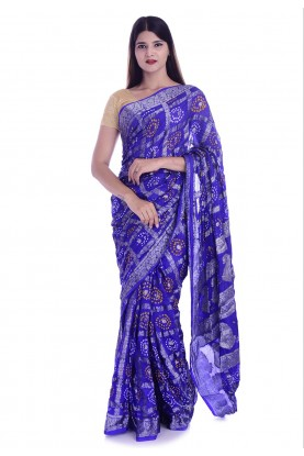 Navy Blue Colour Printed Saree.