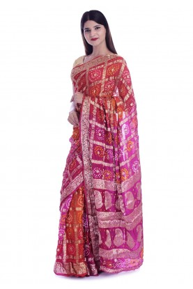 Pink,Orange Colour Traditional Saree.