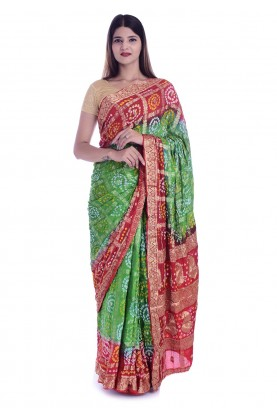 Red,Green Colour Printed Saree.