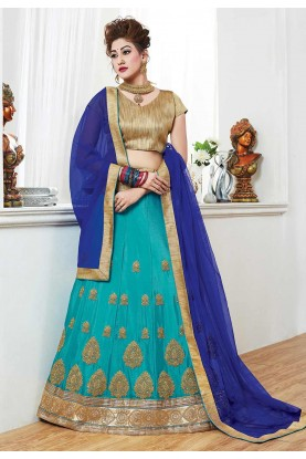 Turquoise Color Lehenga Choli.