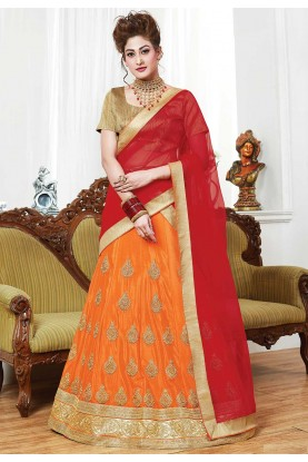 Orange Color Indian Designer Lehenga.